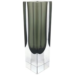 Mandruzzato Black and Clear Murano Glass Sommerso Block Vase