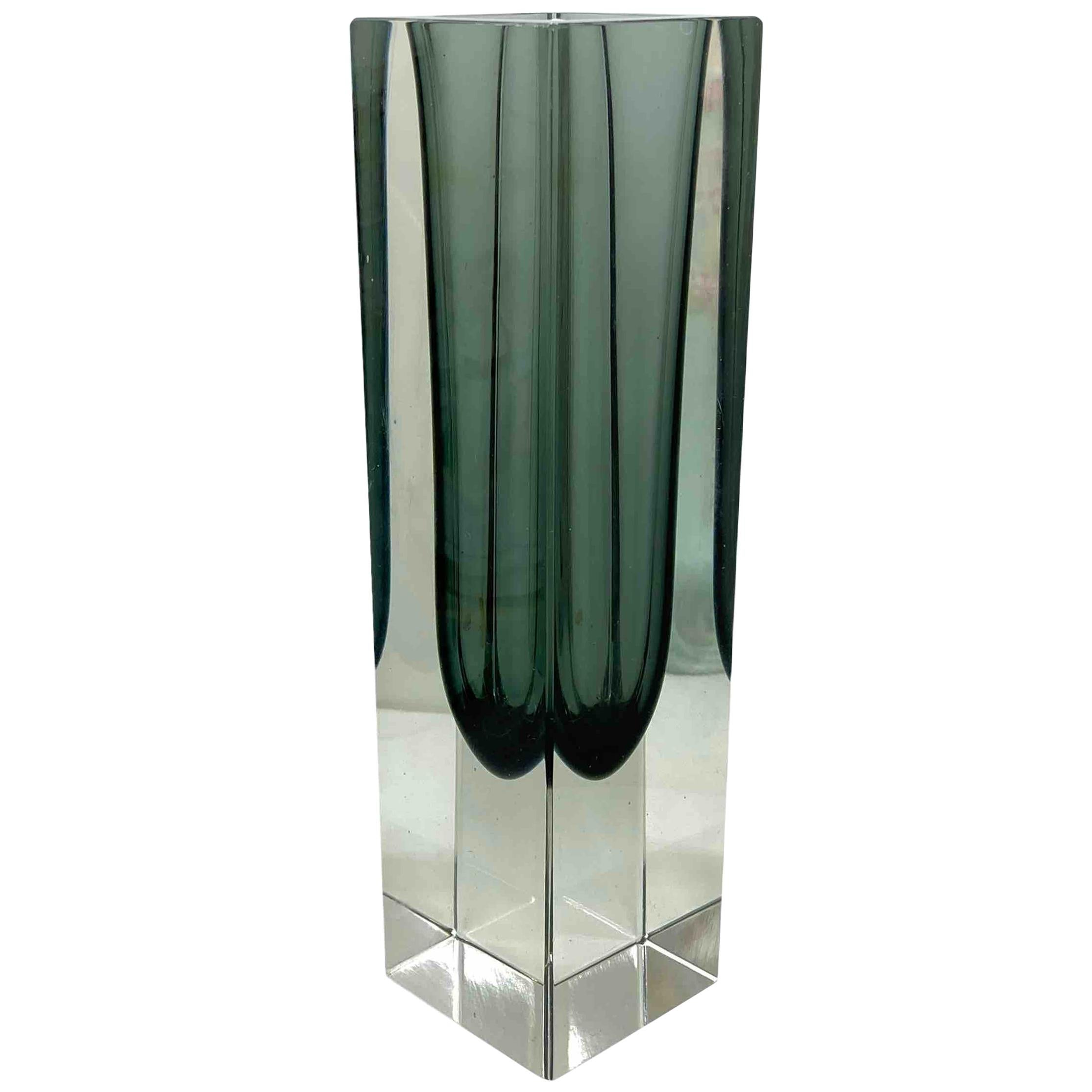 Mandruzzato Black and Clear Murano Glass Sommerso Block Vase