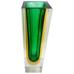 Mandruzzato Block Murano Pillar Vase, Attributed to Flavio Poli, Mid-1960s