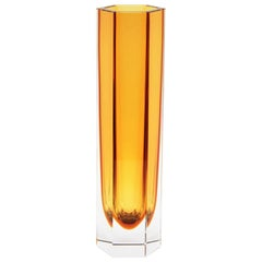 Mandruzzato Murano Faceted Sommerso Amber Orange and Clear Glass Hexagon Vase