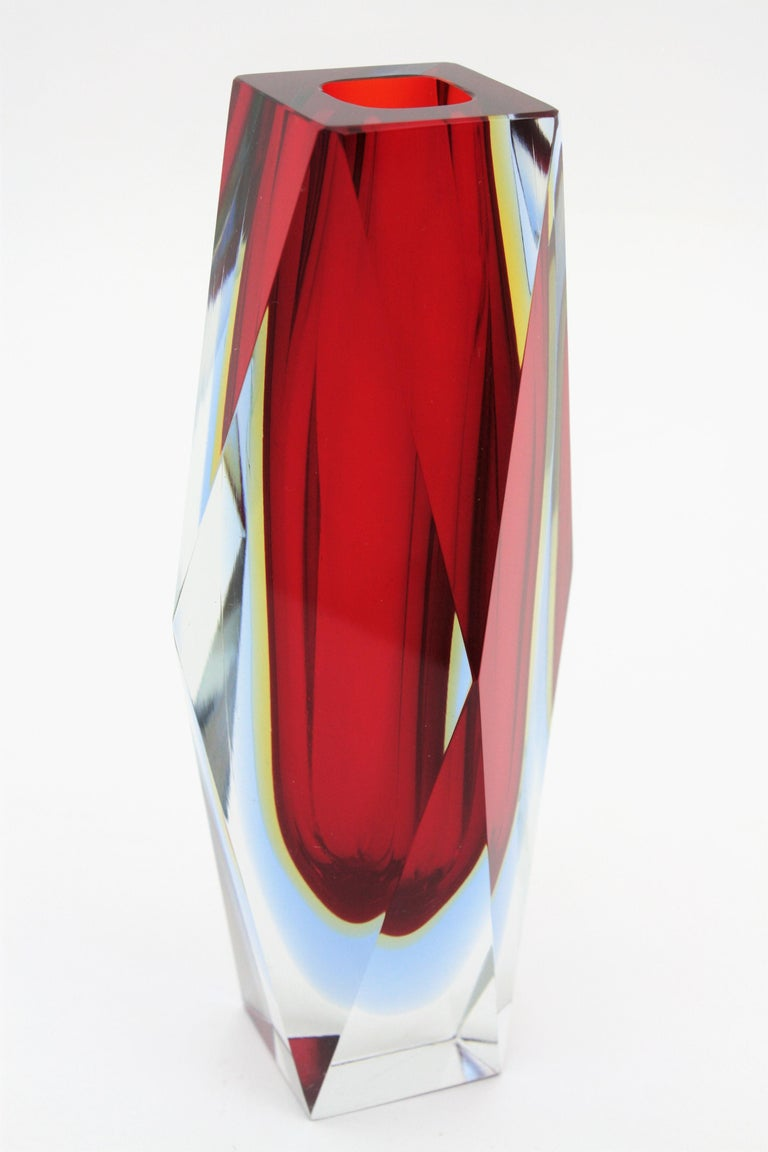 Mandruzzato Murano Sommerso Red, Blue, Yellow & Clear Faceted Glass Vase, 1960s For Sale 3