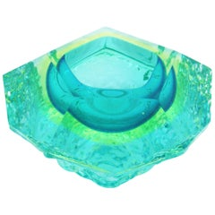 Mandruzzato Sommerso Mint Green Lime Blue Ice Glass Faceted Murano Bowl /Ashtray