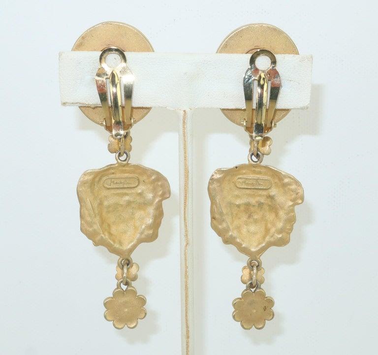Greek Revival Mandy Dan Gold Tone Goddess Dangle Earrings, 1980's For Sale