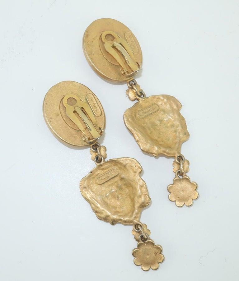 Women's Mandy Dan Gold Tone Goddess Dangle Earrings, 1980's For Sale