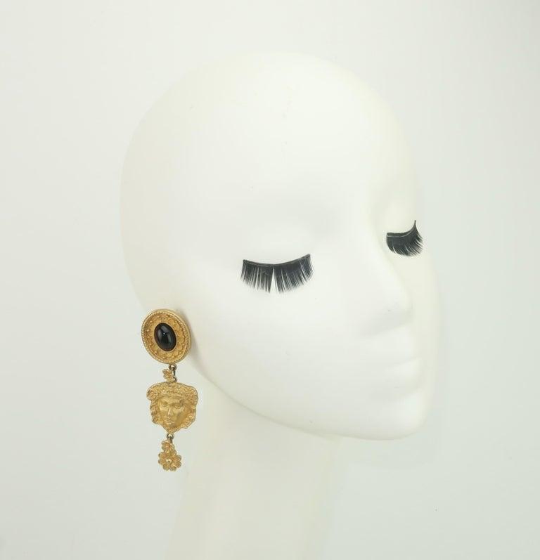 Mandy Dan Gold Tone Goddess Dangle Earrings, 1980's For Sale 2