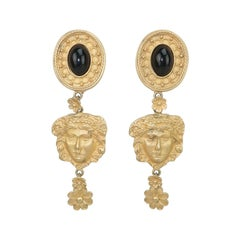 Mandy Dan Gold Tone Goddess Dangle Earrings, 1980's