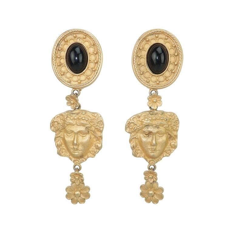 Mandy Dan Gold Tone Goddess Dangle Earrings, 1980's For Sale