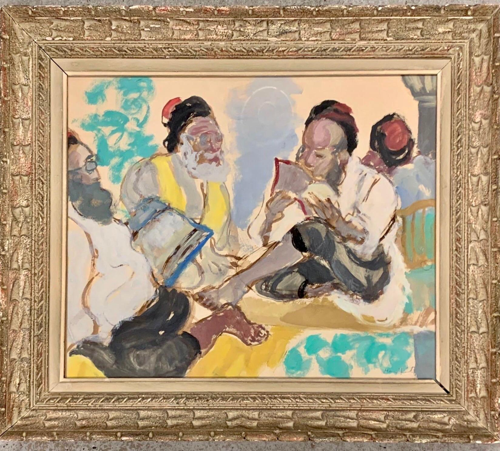 Russian French Judaica Jewish Gouache Painting Sephardic Rabbi, Jerusalem Israel