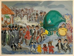 Colorful Russian French Judaica Jewish Shtetl Wedding Lithograph Mourlot Paris