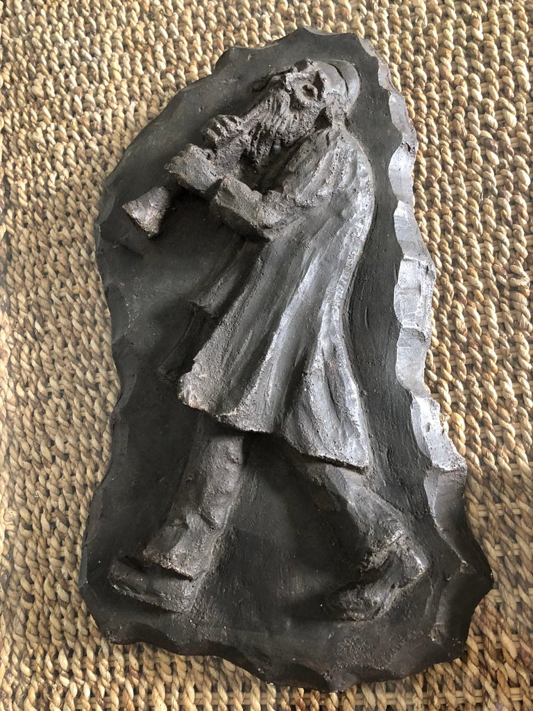 Mane-Katz (1894-1962) maquette plaster relief for bronze sculpture. (it is made from sort of composite material and then painted or colored from the casting. there is no foundry  mark or info. it is signed Mane Katz verso but I do not know if it is