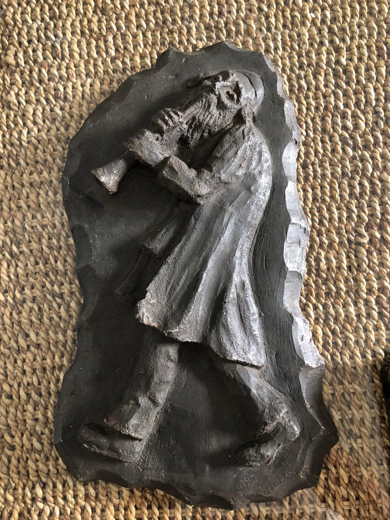 French Painted Maquette for Sculpture Judaica Klezmer Musician  For Sale 1