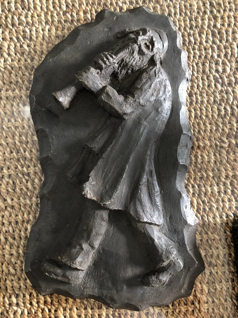 Mane Katz Figurative Sculpture - French Painted Maquette for Sculpture Judaica Klezmer Musician