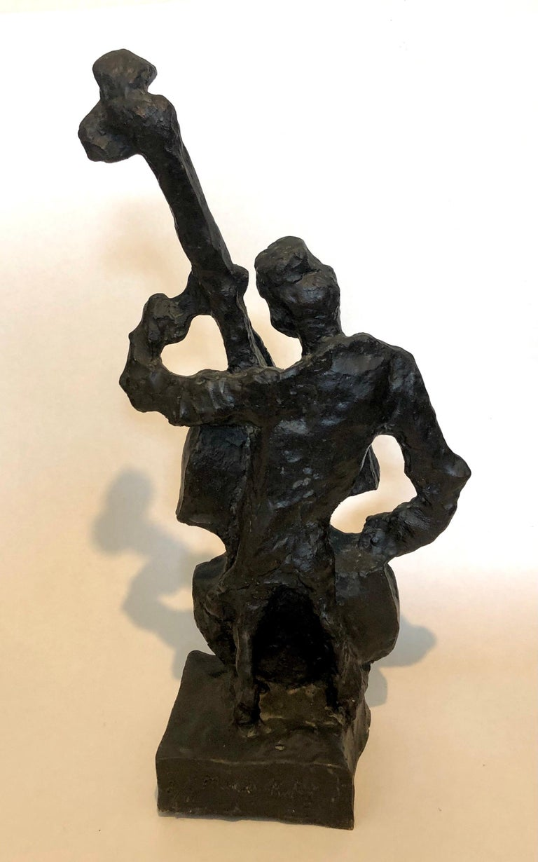 Russian French Judaica Jewish Shtetl Wedding Klezmer Musician Bronze Sculpture For Sale 7