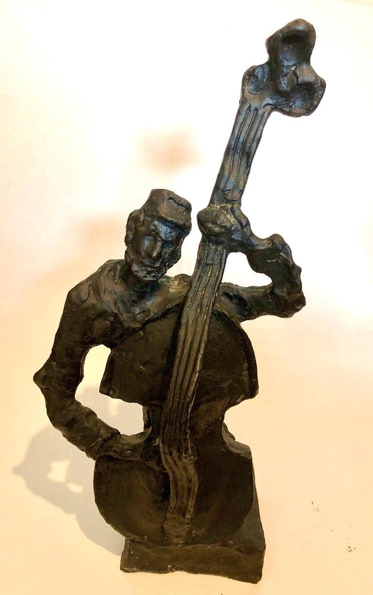 Russian French Judaica Jewish Shtetl Wedding Klezmer Musician Bronze Sculpture - Gold Figurative Sculpture by Mane Katz