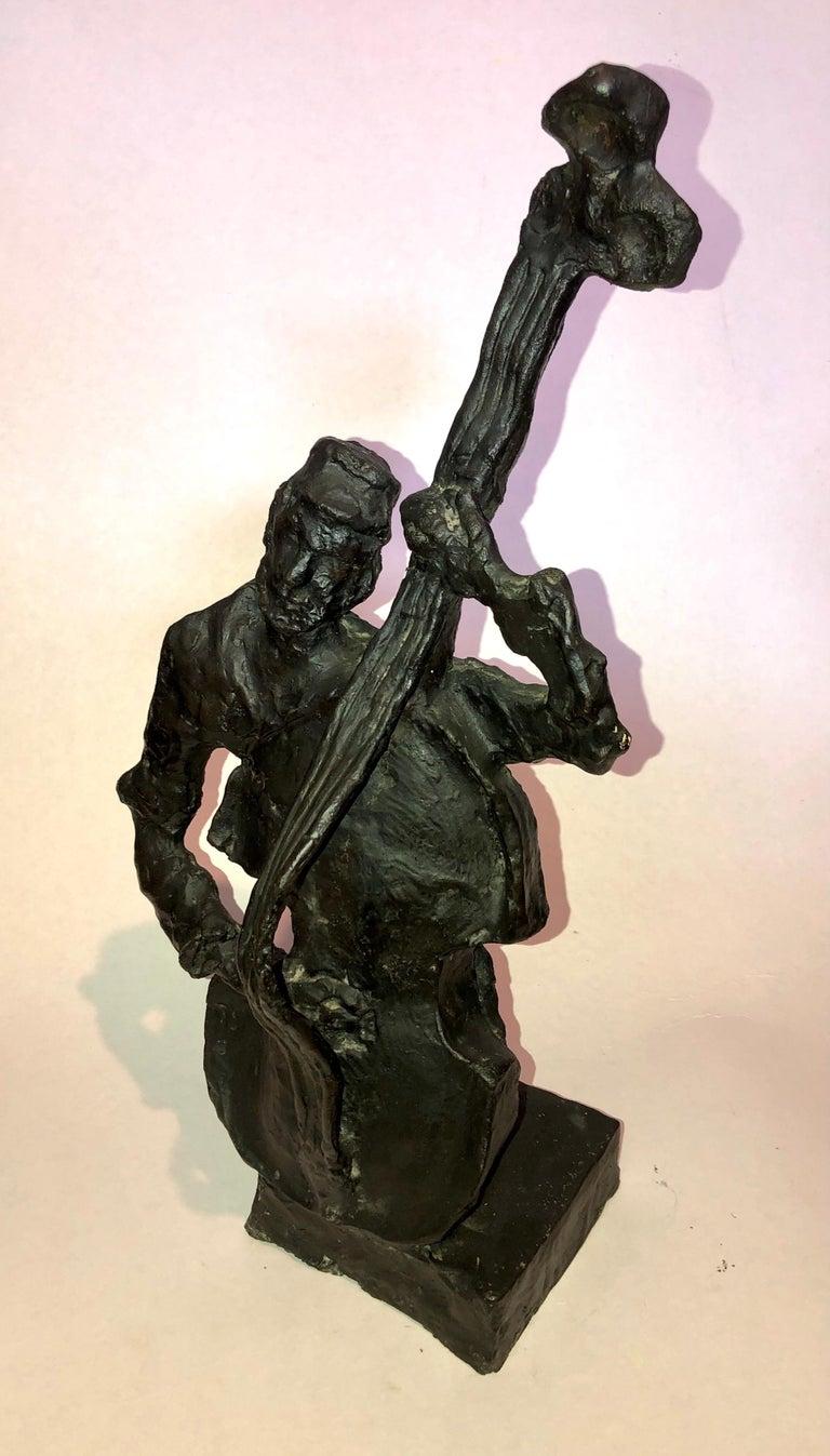 Bronze Double Bass Player Klezmer Musician Sculpture signed Mane-Katz at base. Numbered 8/8.  -Katz (1894-1962)  was a Litvak painter born in Ukraine best known for his depictions of the Jewish shtetl in Eastern Europe. Emmanuel Mané-Katz