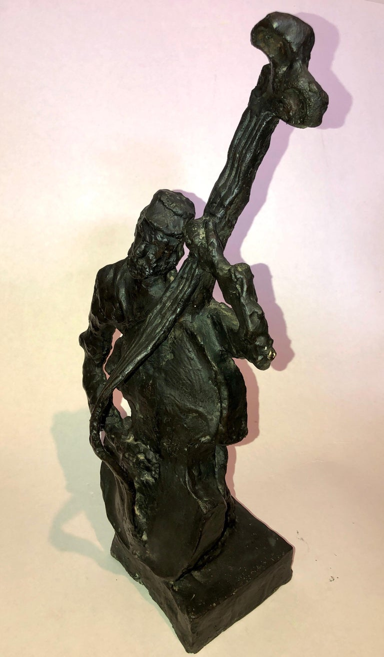 Russian French Judaica Jewish Shtetl Wedding Klezmer Musician Bronze Sculpture For Sale 6