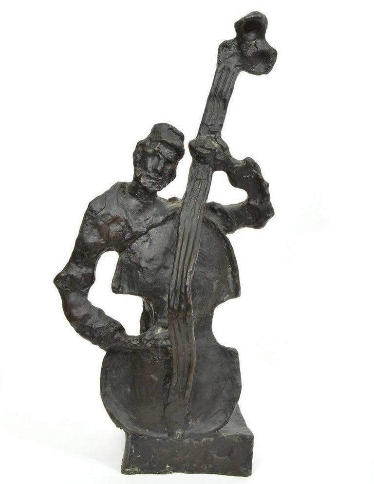 Mane Katz Figurative Sculpture - Russian French Judaica Jewish Shtetl Wedding Klezmer Musician Bronze Sculpture
