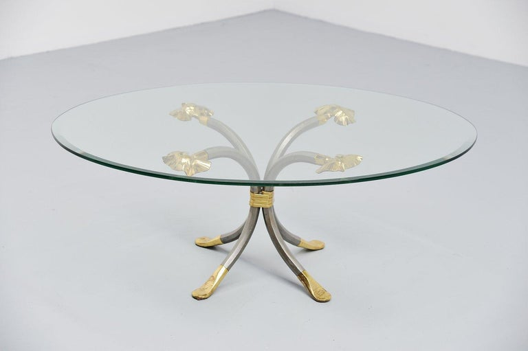 Manfred Bredohl Brass and Iron Coffee Table, Germany, 1970 In Good Condition For Sale In Etten-Leur, NL