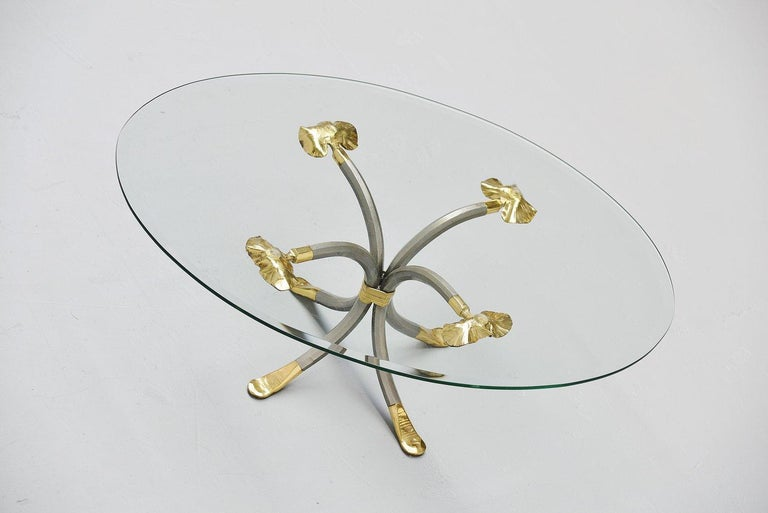 Late 20th Century Manfred Bredohl Brass and Iron Coffee Table, Germany, 1970 For Sale