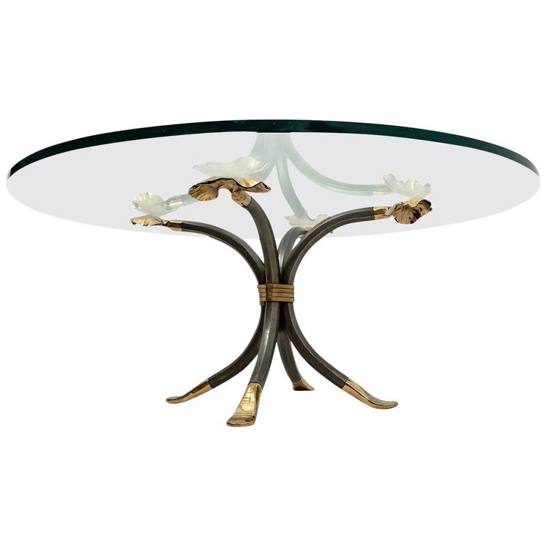 Manfred Bredohl Brass and Iron Coffee Table, Germany, 1970 For Sale