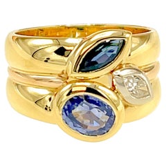 Manfredi 18kt Yellow Gold Diamond and Sapphire Wide Ring