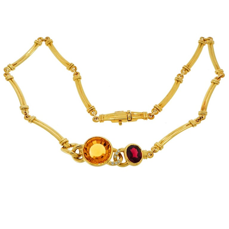Artist Manfredi Citrine, Garnet and Diamond Yellow Gold Necklace For Sale