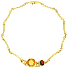 Manfredi Citrine, Garnet and Diamond Yellow Gold Necklace