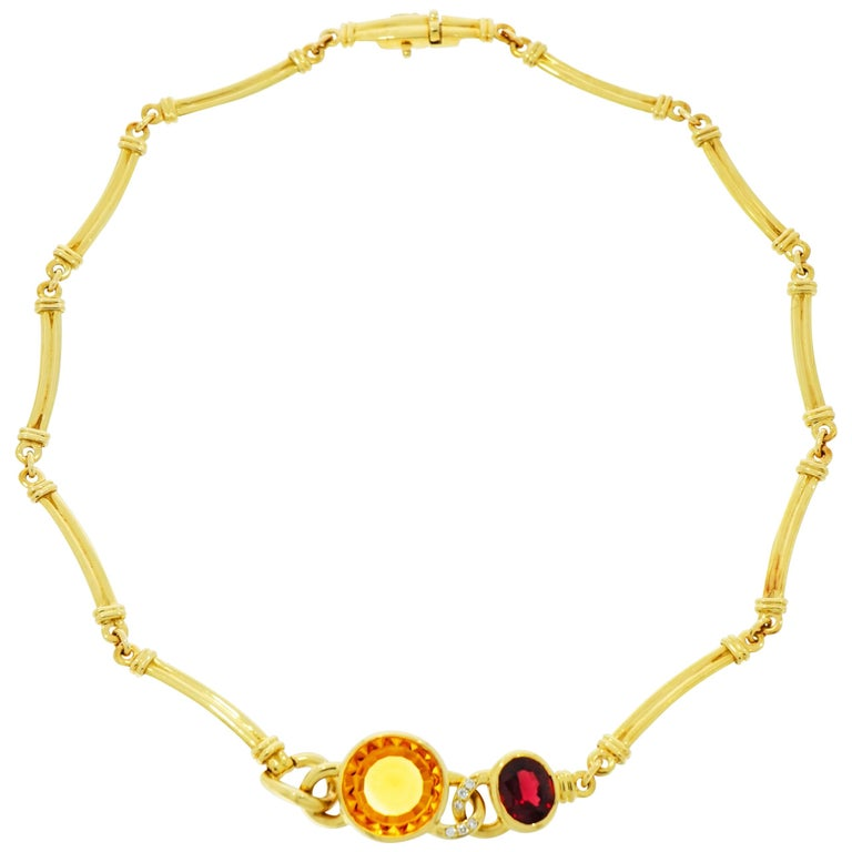 Manfredi Citrine, Garnet and Diamond Yellow Gold Necklace For Sale