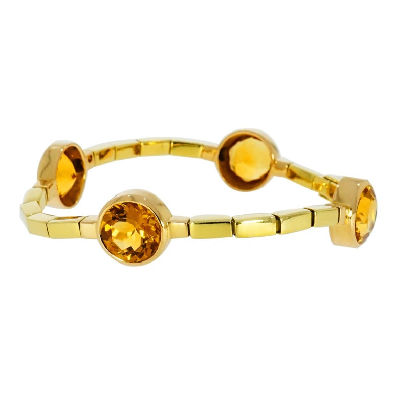 Modern Manfredi Citrine Yellow Gold Bracelet For Sale