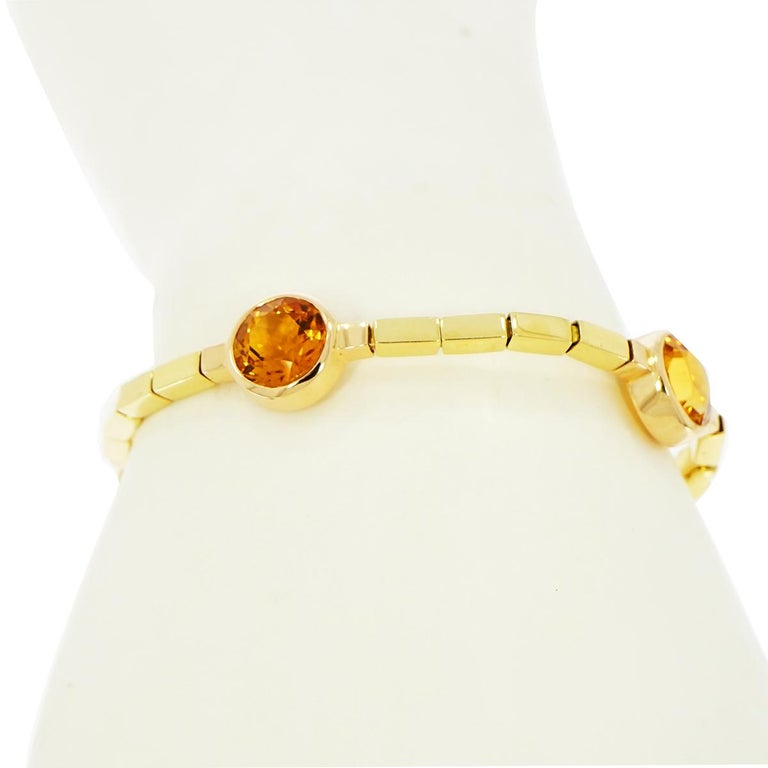 Round Cut Manfredi Citrine Yellow Gold Bracelet For Sale