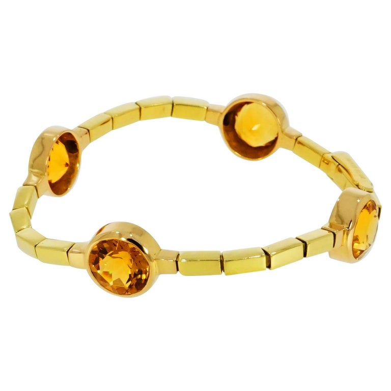 Manfredi Citrine Yellow Gold Bracelet For Sale