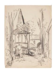 View of the Church - Original Pencil Drawing by Manfredo Borsi - 1940