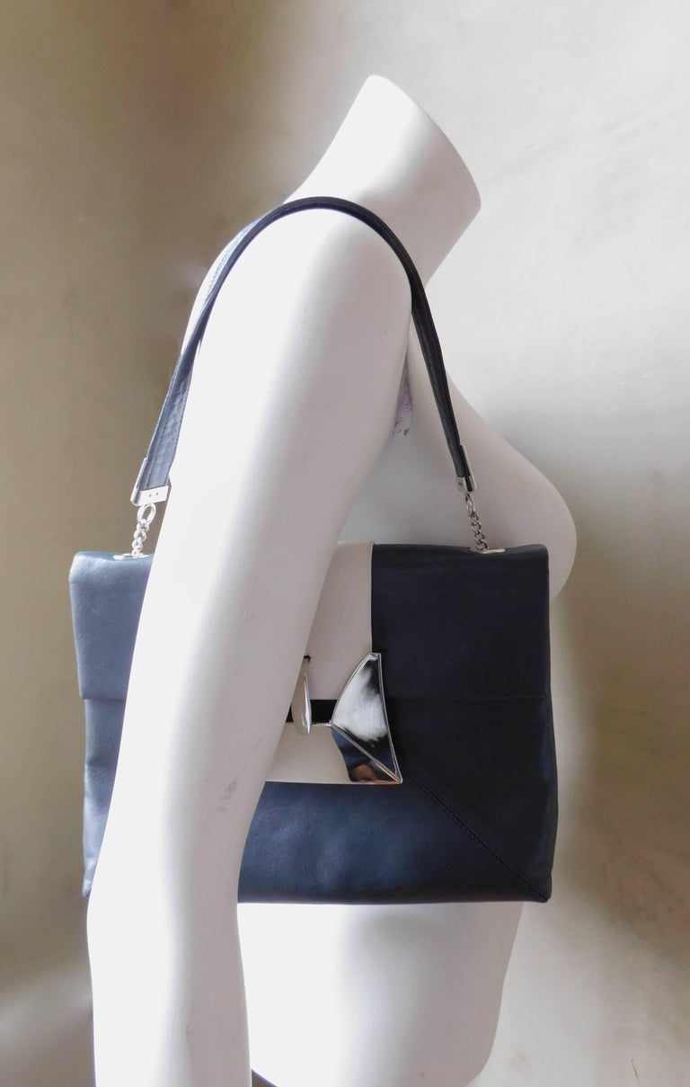 f1b236526 Extremely soft navy blue and white calfskin leather handbag by the Italian  firm of Mangiameli.