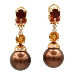 Mangiarotti Chocolate Brown Pearl Diamond Spessartite Citrine Rose Gold Earrings