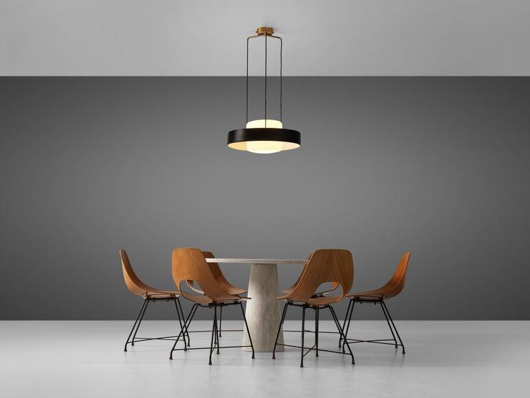 Mangiarotti 'Eros' Marble Table with Bozzi 'Ariston' Chairs and Stilnovo Lamp For Sale 4