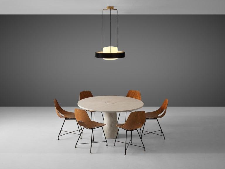 Mangiarotti 'Eros' Marble Table with Bozzi 'Ariston' Chairs and Stilnovo Lamp For Sale 5