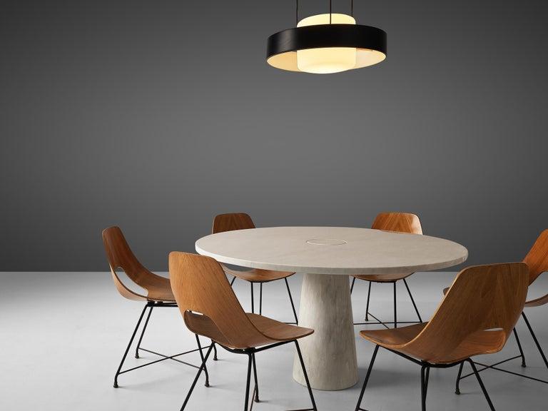 Italian Mangiarotti 'Eros' Marble Table with Bozzi 'Ariston' Chairs and Stilnovo Lamp For Sale