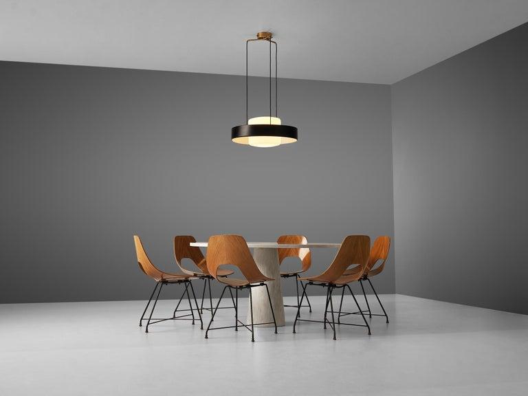20th Century Mangiarotti 'Eros' Marble Table with Bozzi 'Ariston' Chairs and Stilnovo Lamp For Sale
