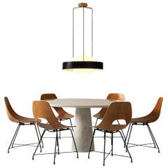 Mangiarotti 'Eros' Marble Table with Bozzi 'Ariston' Chairs and Stilnovo Lamp