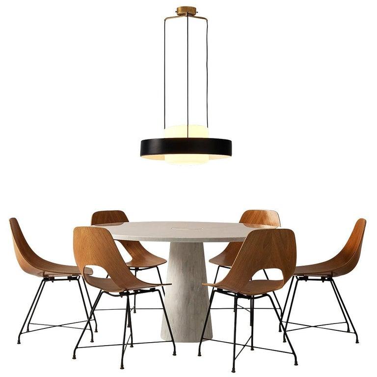 Mangiarotti 'Eros' Marble Table with Bozzi 'Ariston' Chairs and Stilnovo Lamp For Sale