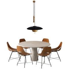 Mangiarotti 'Eros' Marble Table with Bozzi 'Ariston' Chairs and Stilnovo Lamp