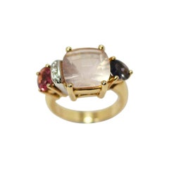 Mangiarotti Moonstone, Sapphire, Pink Tourmaline Ring in 18kt Gold and Diamonds