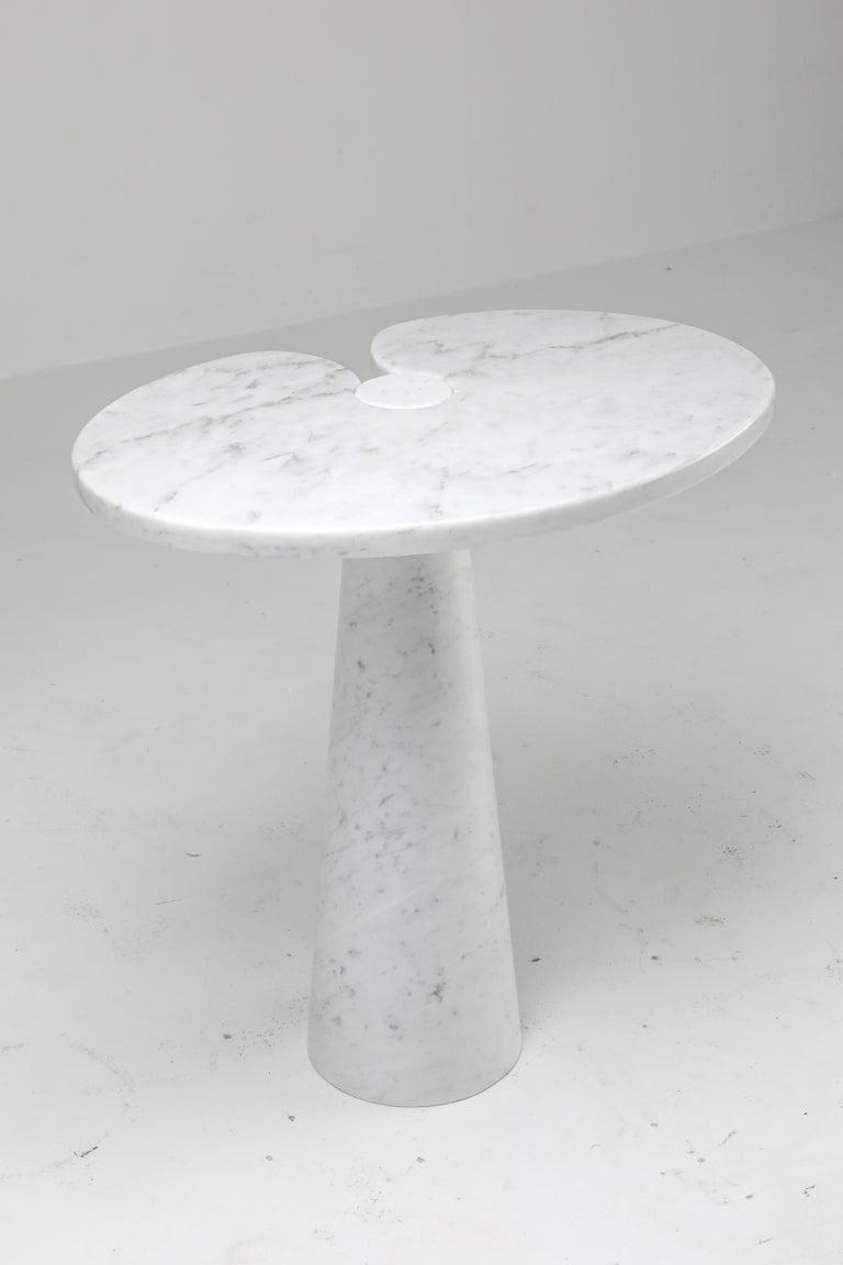 20th Century Mangiarotti White Carrara 'Eros' Marble Side Table for Skipper, Italy For Sale