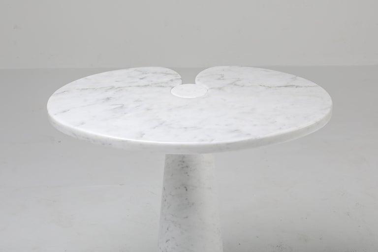Carrara Marble Mangiarotti White Carrara 'Eros' Marble Side Table for Skipper, Italy For Sale