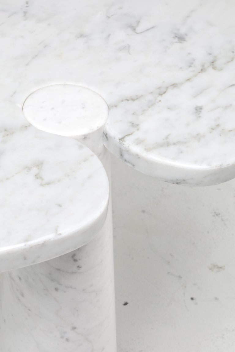 Mangiarotti White Carrara 'Eros' Marble Side Table for Skipper, Italy For Sale 1