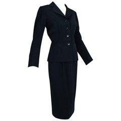 Mangone Black Art Deco Seam Pencil Suit, Jácome Estate - Medium, 1940s