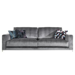 Manhattan 3-Seat Sofa in Grey Fabric by Roberto Cavalli