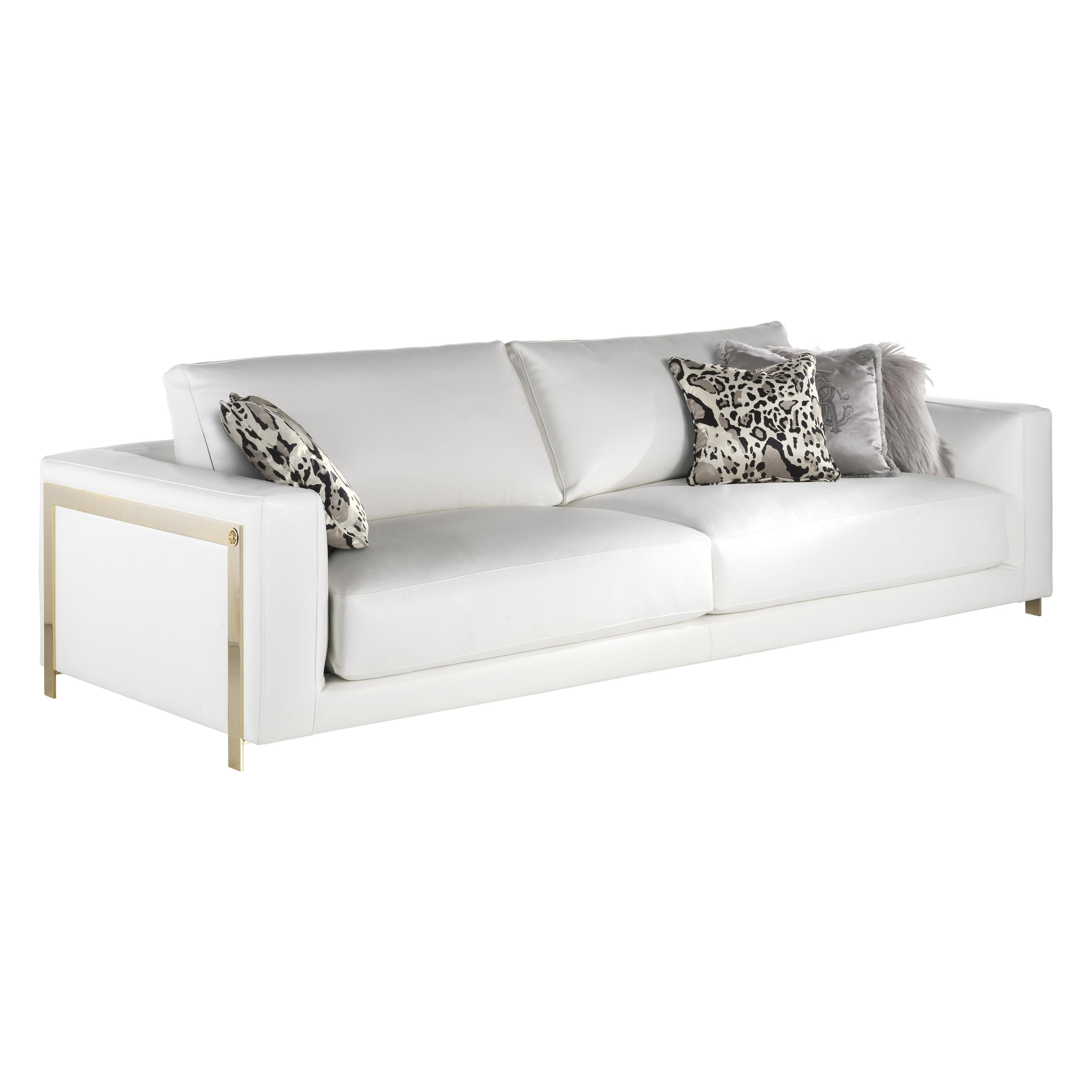 Manhattan 3-Seater Sofa in Leather by Roberto Cavalli Home Interiors