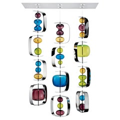 Manhattan 7108 Ceiling Lamp in Glass with Dark Chrome Finish, by Alessandro Piva