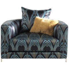 Manhattan Armchair in Dark Fabric by Roberto Cavalli